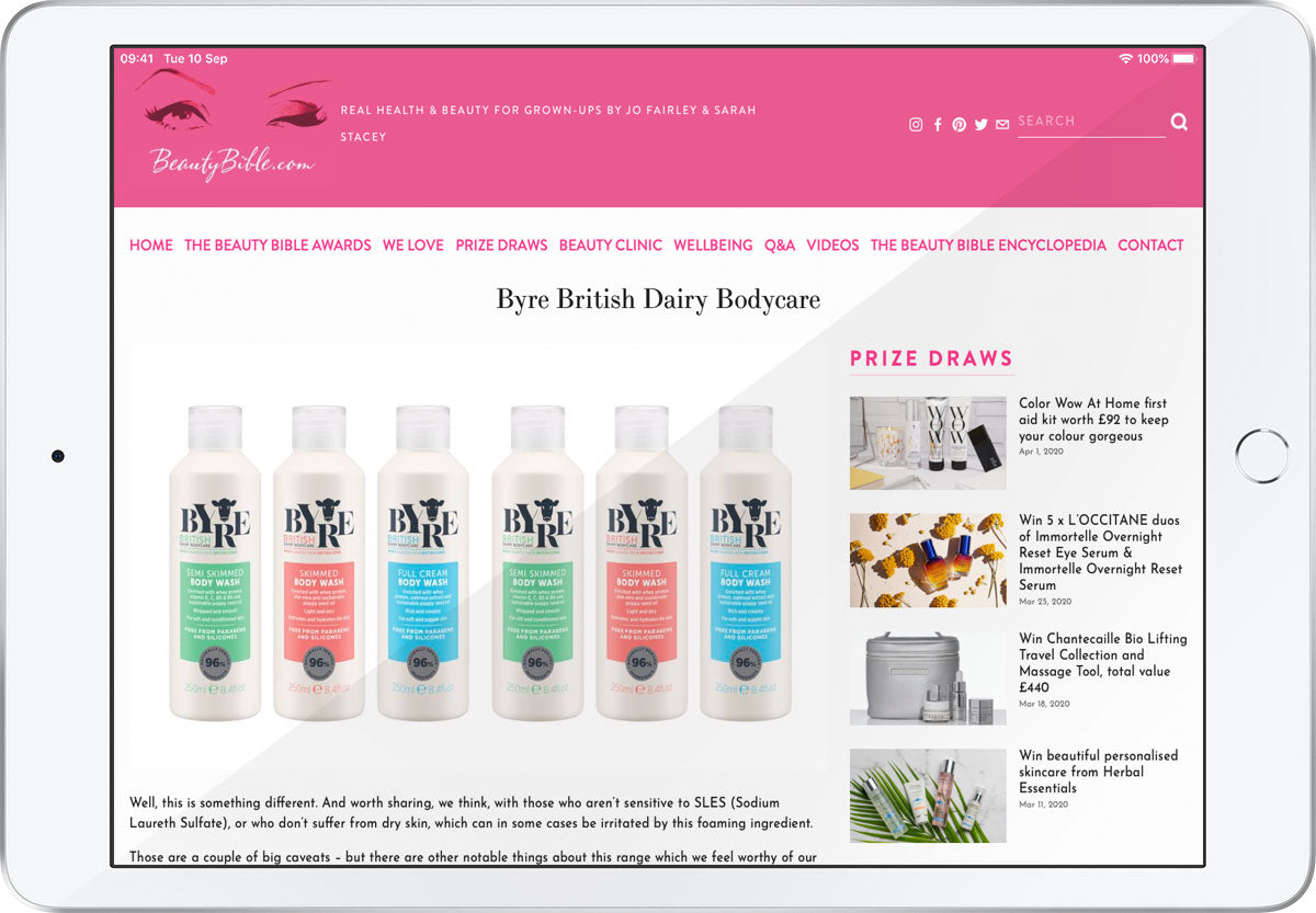 Beauty Bible writes about Byre