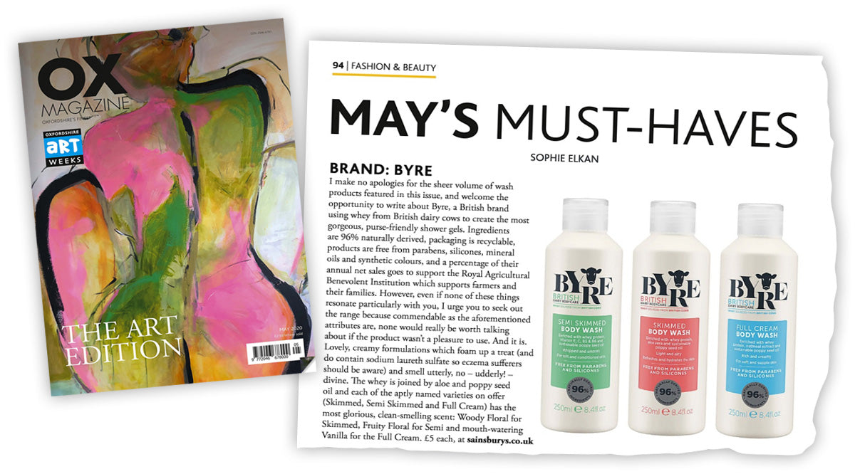 OX Magazine article featuring Byre Body Washes