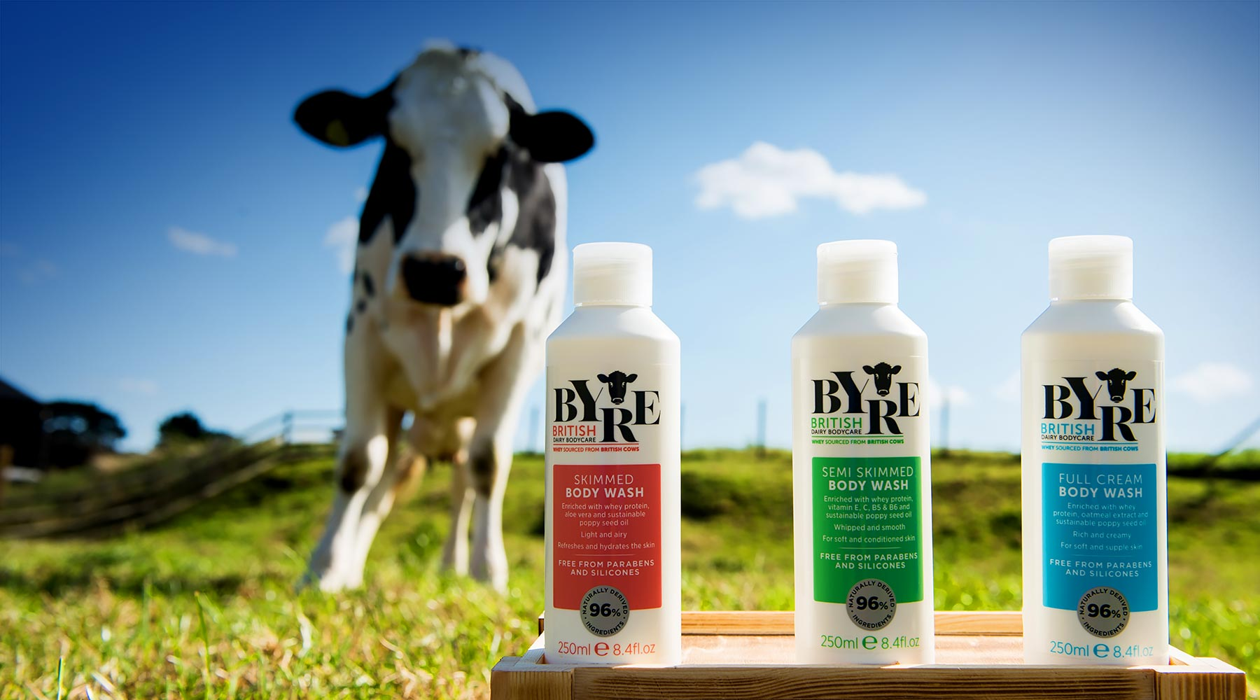 Byre Body Washes is formulated with sweet whey