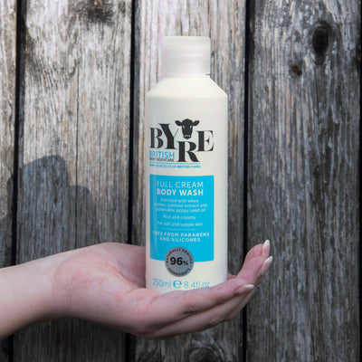 Byre Body Wash Full Cream in hand