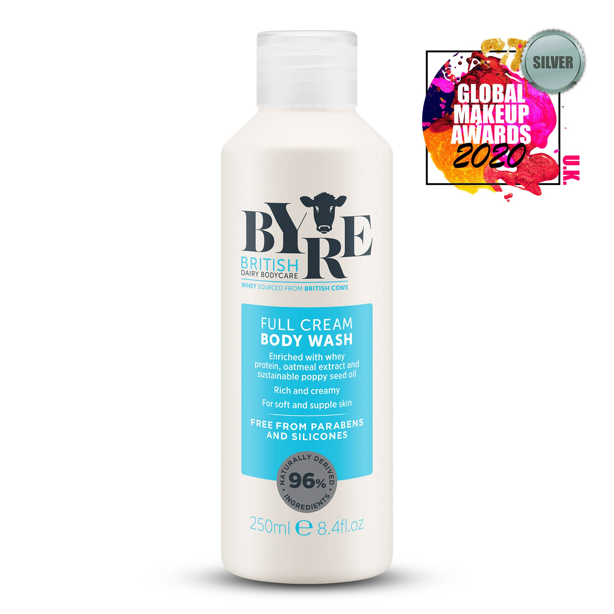 Byre Body Wash Full Cream (250ml / 8.4fl.oz) Silver winner at the Global Makeup Awards 2020