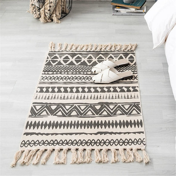 Black & White Tassel Knitted Area Mat - Good Vibes Home Decor