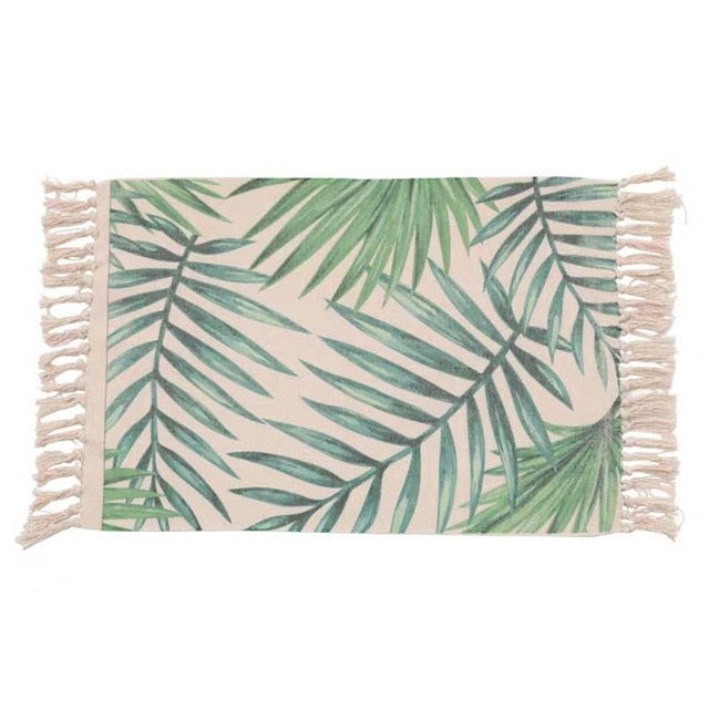 Palm Leaves Tassel Knitted Floor Mat - Good Vibes Home Decor