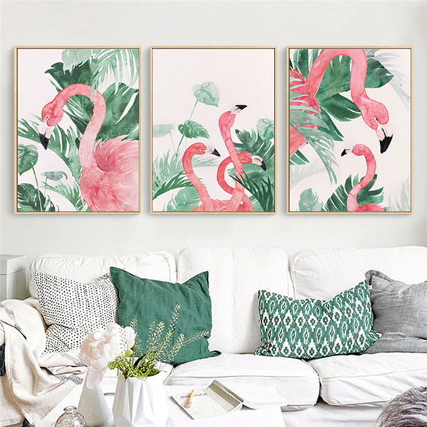 Flamingo Tropical Plant Canvas Prints - Good Vibes Home Decor
