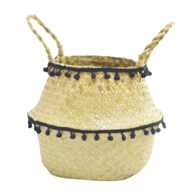 Tassel Seagrass Basket (Black & White) - Good Vibes Home Decor