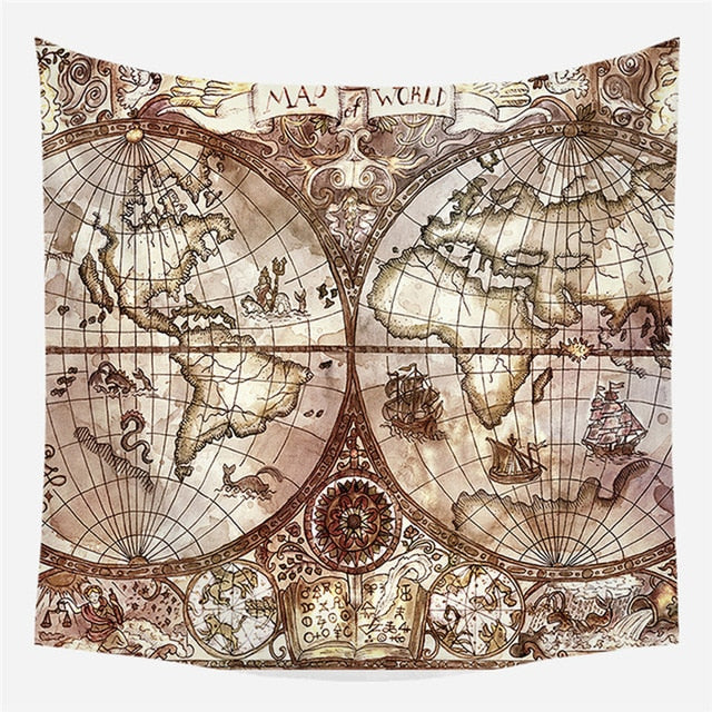 Old World Map Tapestry - Good Vibes Home Decor
