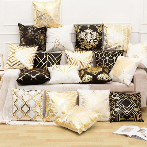 Black, White & Gold Cushion Cover - Good Vibes Home Decor