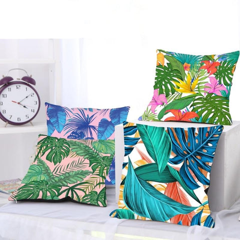 Colorful Leaves Cushion Cover - Good Vibes Home Decor