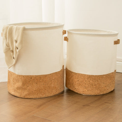 Cork Style Laundry Basket - Good Vibes Home Decor