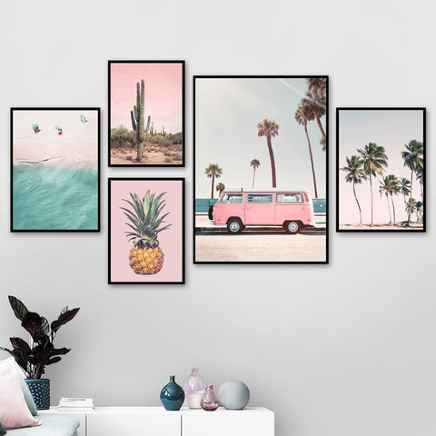 Pink Bus, Cactus, Pineapple, Beach Canvas Prints