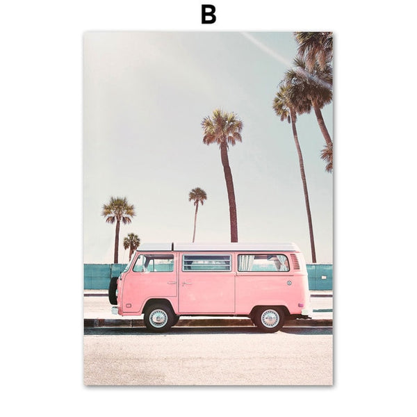Pink Bus Cactus Pineapple Beach Canvas Prints - Good Vibes Home Decor