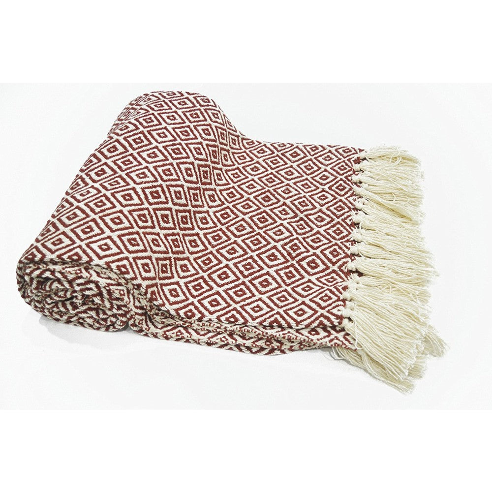 Diamond Pattern Cotton Throw With Fringed Ends, Rust Ivory - Good Vibes Home Decor