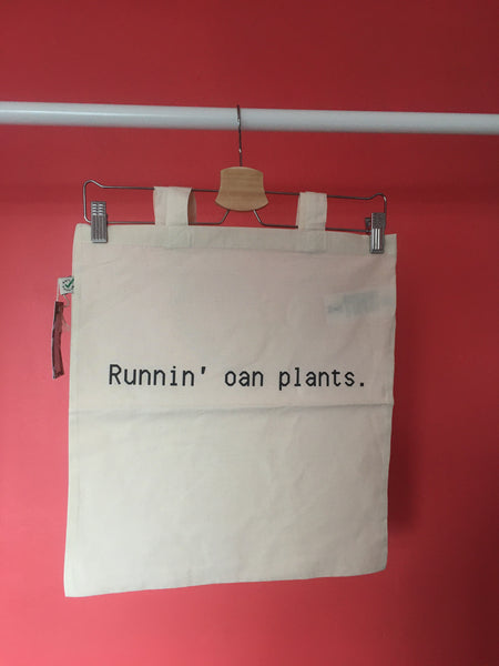 Runnin' Oan Plants Cotton Tote Bag