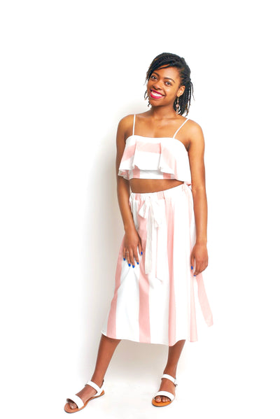 Pink and White Stripe Skirt Set