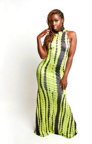 Neon Green Wavy Tie Dye Maxi Dress