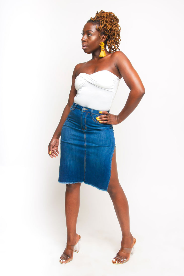 Denim Split Skirt