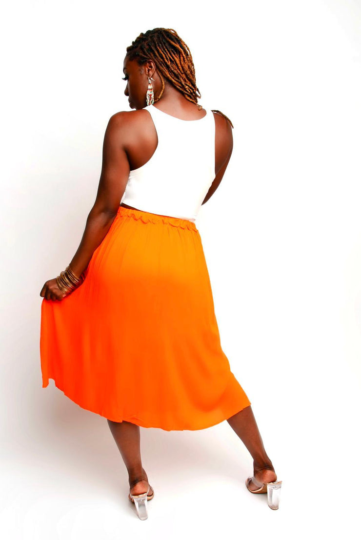 Button Down Orange Skirt