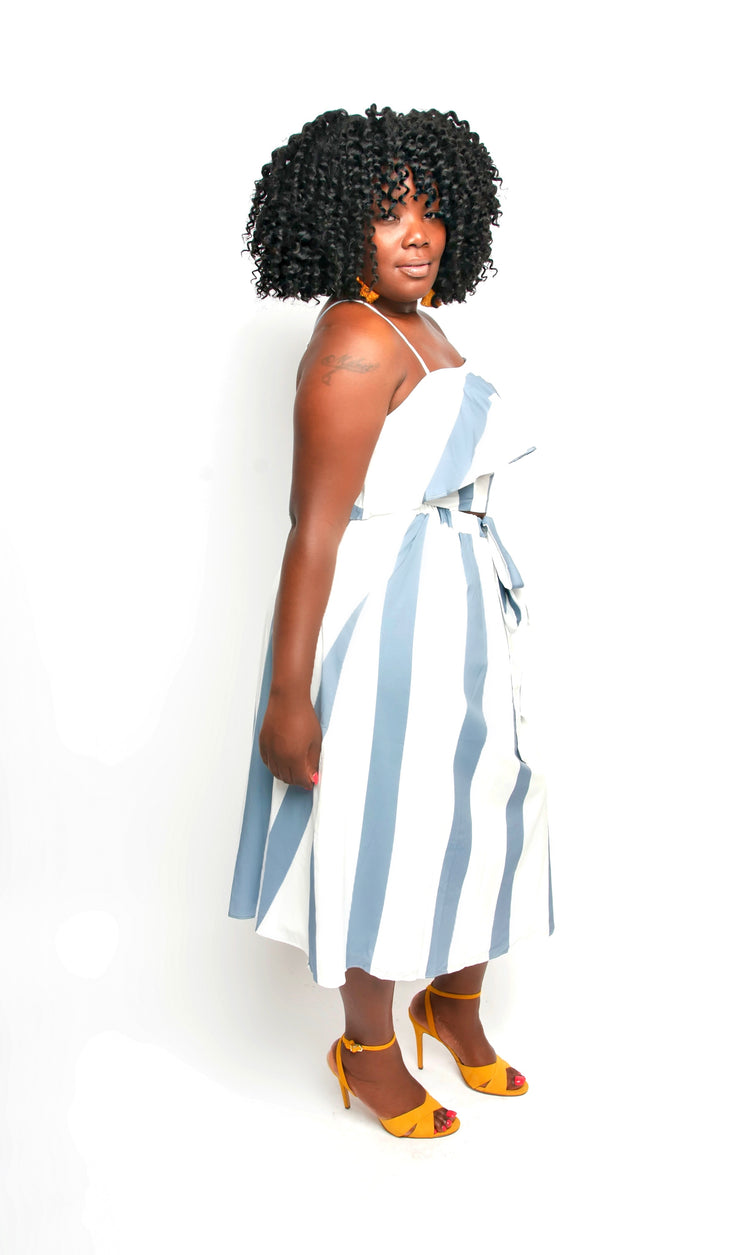 Blue and White Stripe Skirt Set