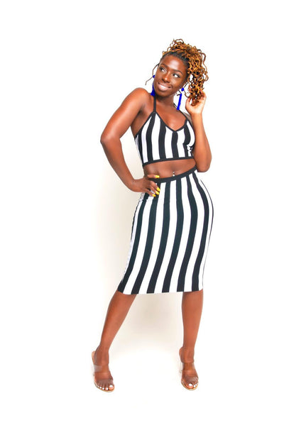 Black/White Stripe Two Piece Set