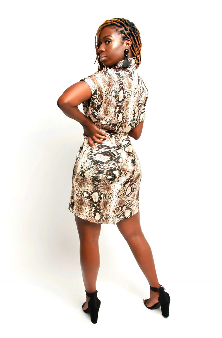 Brown Snake Skin Print Dress
