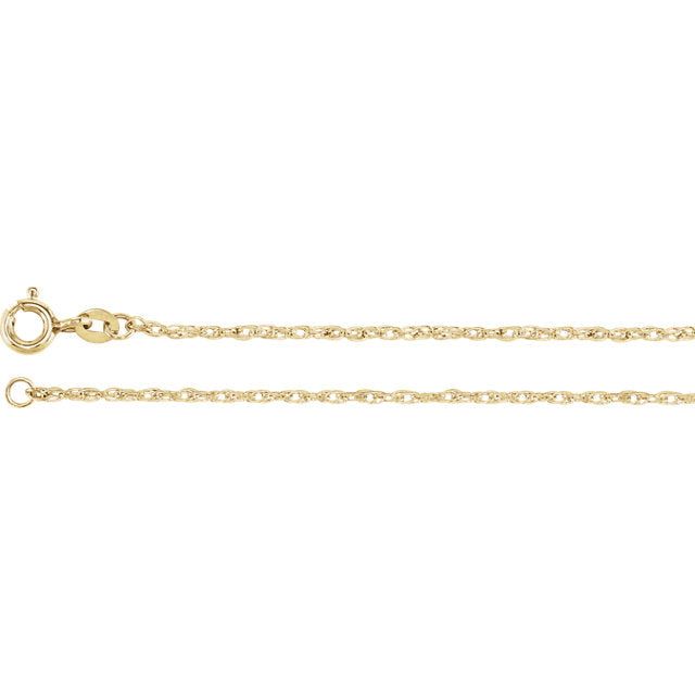 14K Yellow Gold Filled 1.25mm Rope Chain