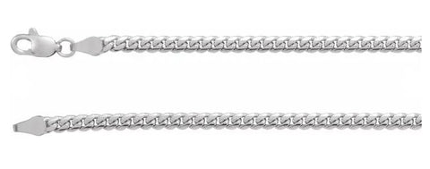 14 Karat White Gold Cuban Link Chain