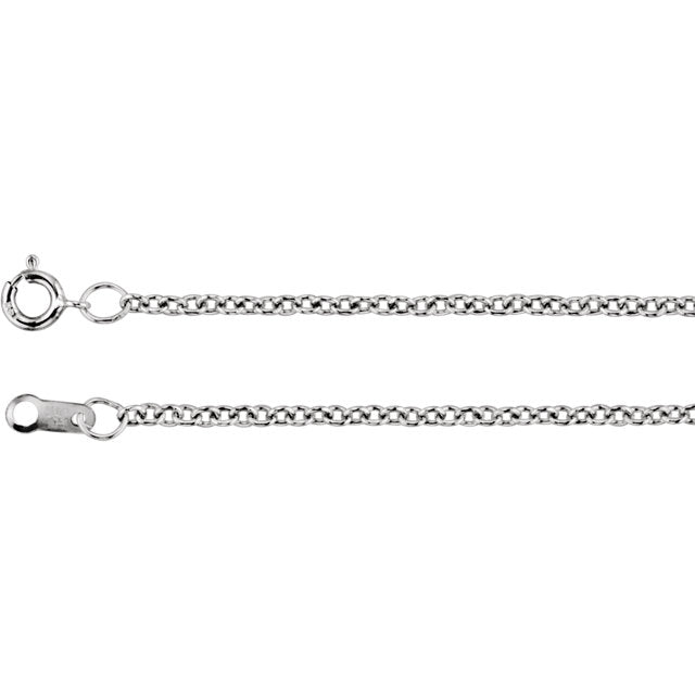 18K White Gold 1.5mm Solid Cable Chain