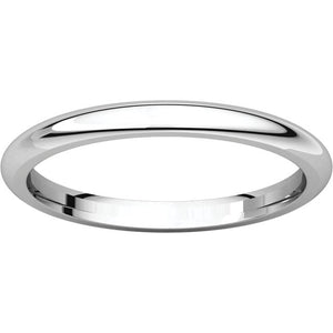 2 mm White Gold Comfort Fit Classic Wedding Band