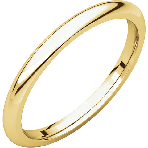 2 mm Yellow Gold Comfort Fit Classic Wedding Band