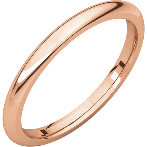 2 mm Rose Gold Comfort Fit Classic Wedding Band