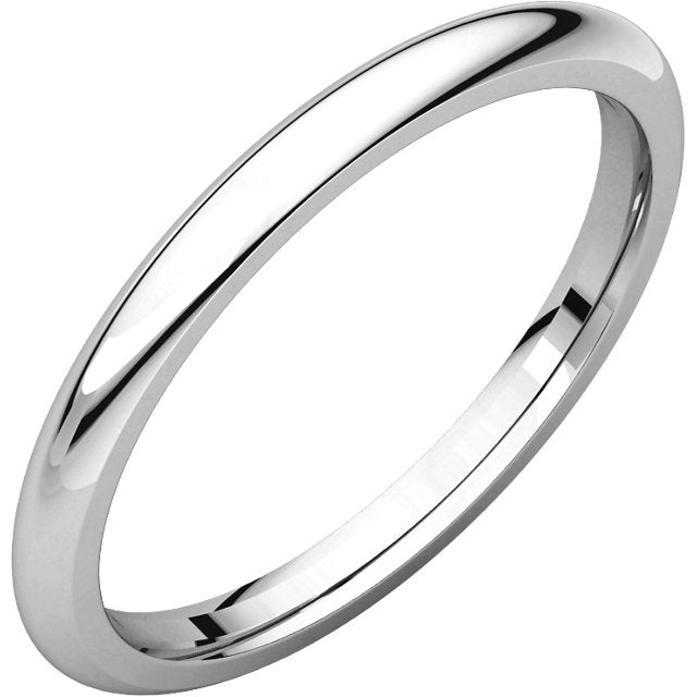 2 mm Platinum Comfort Fit Classic Wedding Band