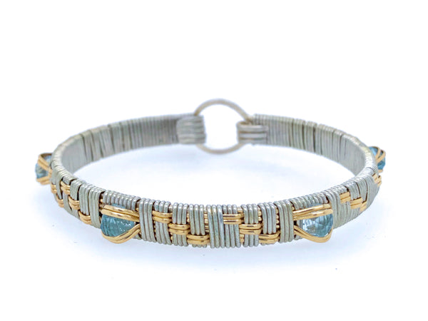 Light Blue Topaz Elite Basket Weave Bangle Bracelet