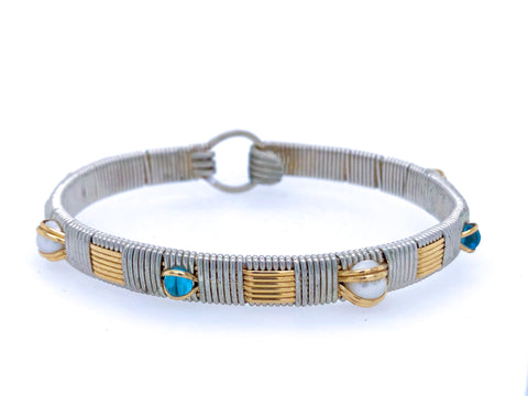 Swiss Blue Topaz and Pearl Classic Elite Bangle Bracelet