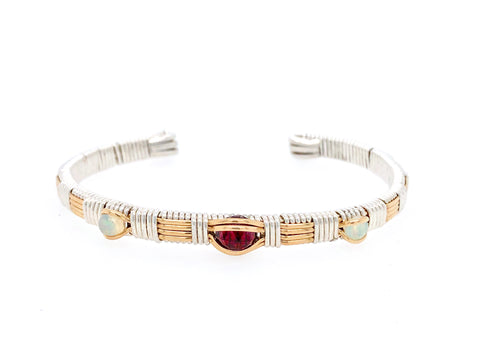 Classic Three Stone Garnet and Opal Cuff
