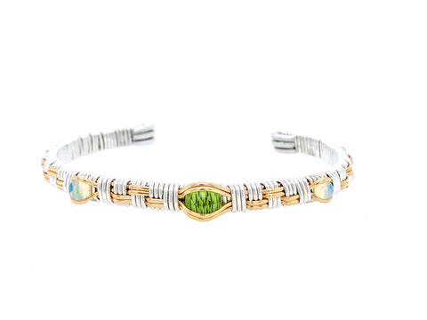 Classic Three Stone Cuff Bracelet Peridot and Opal