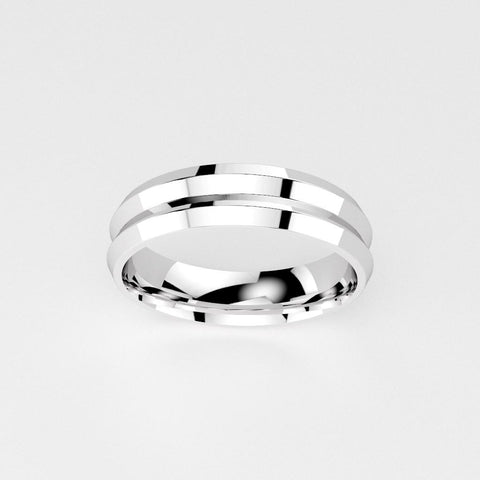 Double Groove Men's Wedding Band