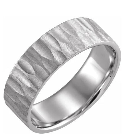 Flat Carved Texture Men's Wedding Band