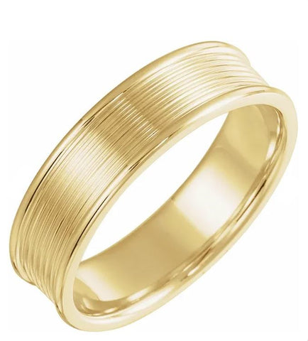 Half Round Grooved Men's Wedding Band