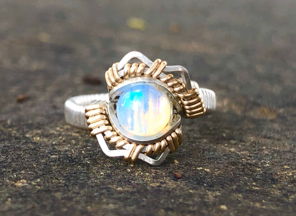 Petite Energy Ethiopian Opal Wire Wrap Ring