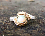 Petite Pulse Ethiopian Opal Wire Wrap Ring