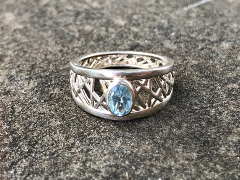 Swiss Blue Topaz Connection Ring