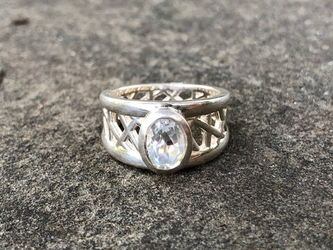 White Topaz Connection Ring