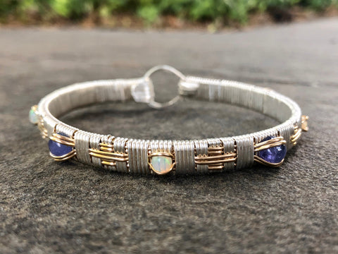 Ethiopian Opal and Tanzanite South West Elite Bangle Bracelet