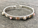 Pink Opal and Pearl Classic Elite Bangle Bracelet