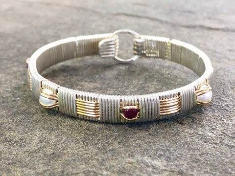 Ruby and Pearl Classic Elite Bangle Bracelet