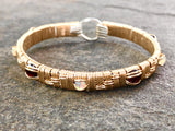 Ethiopian Opal and Garnet Basket Weave Elite Bangle Bracelet
