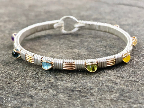 Seven Chakras Gemstone Bangle Bracelet