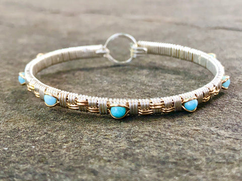 Larimar Basket Weave Bangle Bracelet