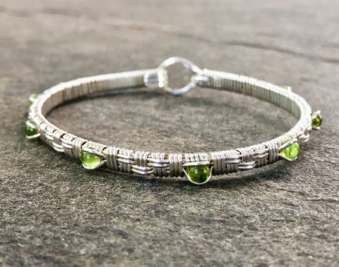 Peridot Basket Weave Bangle Bracelet