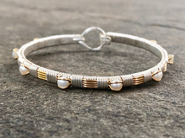 Fresh Water Pearl Classic Bangle Bracelet